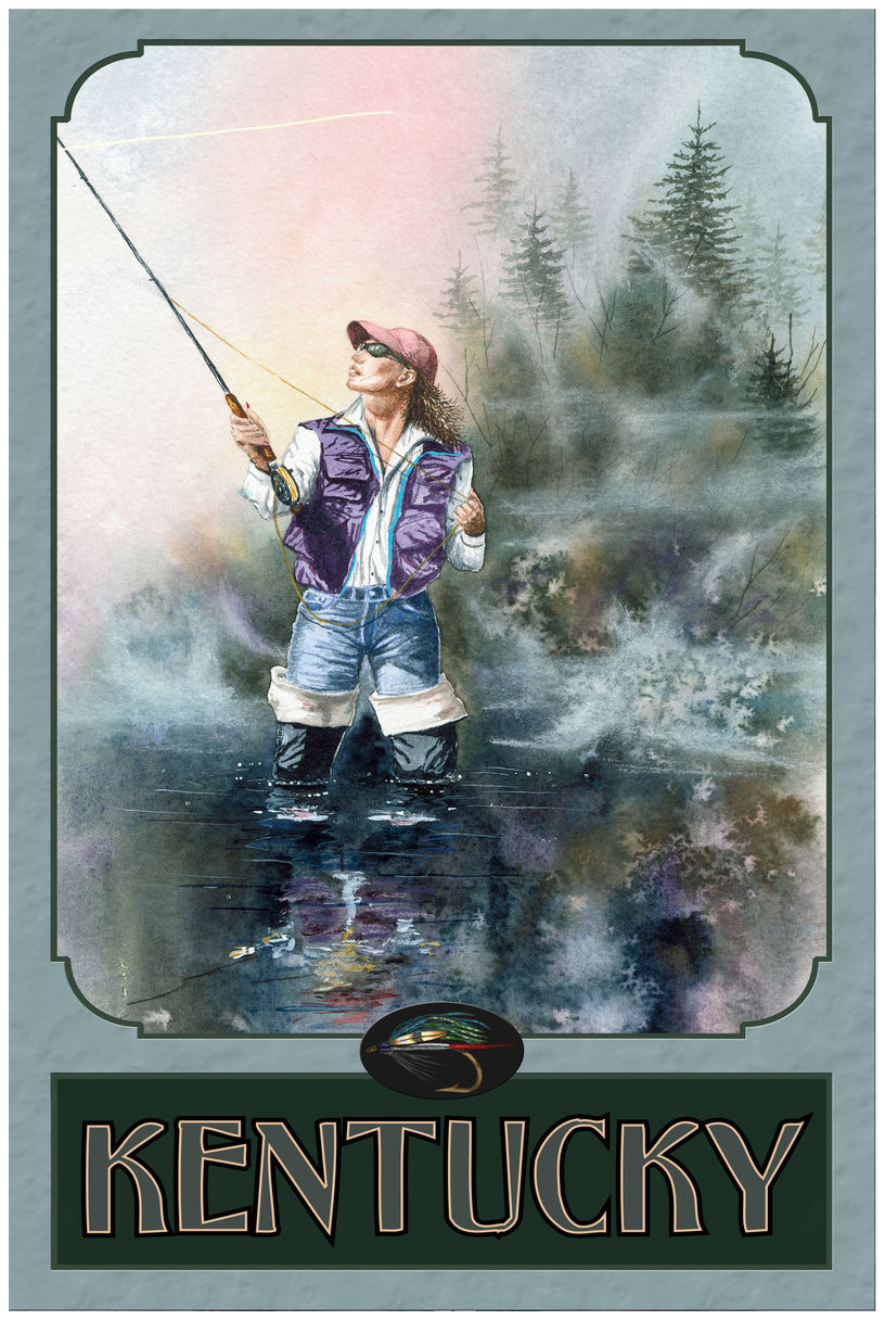 Kentucky Woman Fly Fishing Drawing & Painting Fly Fishing Giclee Art Print Poster by Dave Bartholet