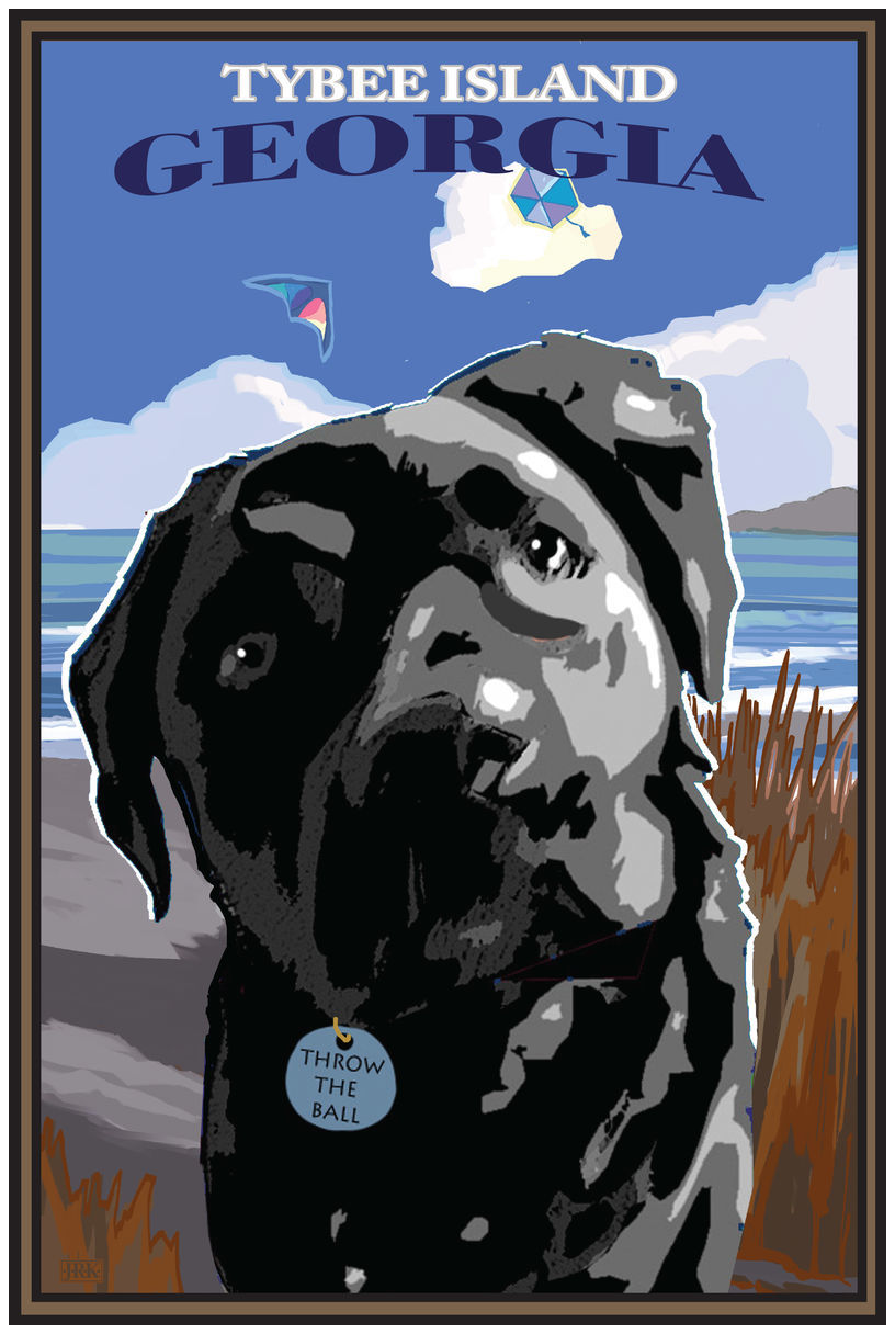 Tybee Island Georgia Throw The Ball Giclee Art Print Poster by Joanne Kollman