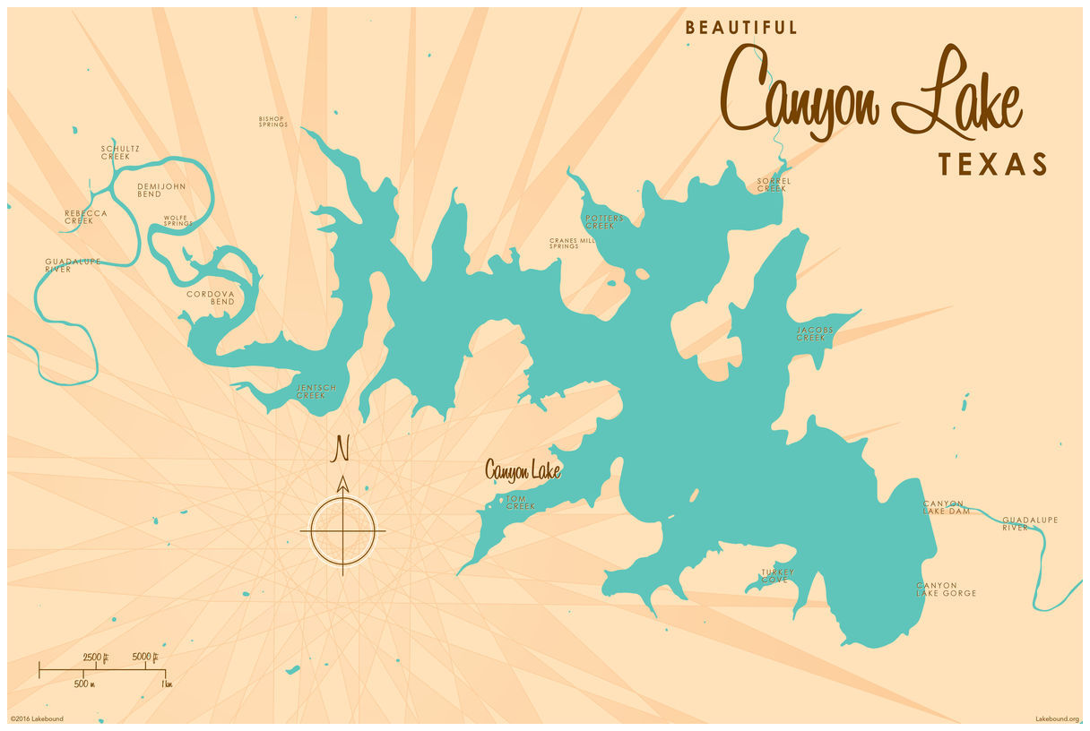 Canyon Lake Texas Vintage-style Map Giclee Art Print Poster by Lakebound