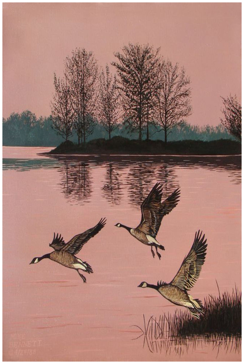 Trio of Canadian Geese Giclee Art Print Poster by Mike Bennett