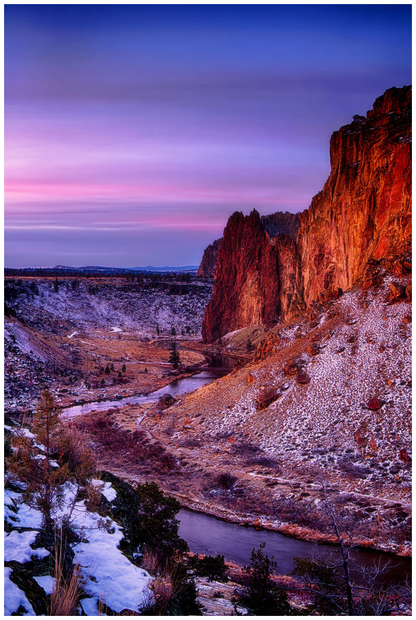 Crooked River Sunset Giclee Art Print Poster by Nicholas Bielemeier