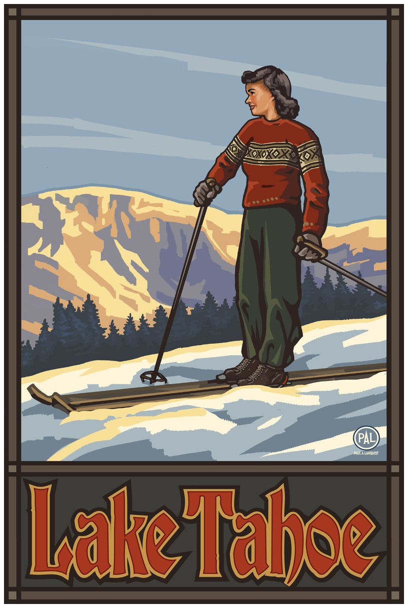 Lake Tahoe California Girl Skier Standing Sunset Giclee Art Print Poster by Paul A. Lanquist