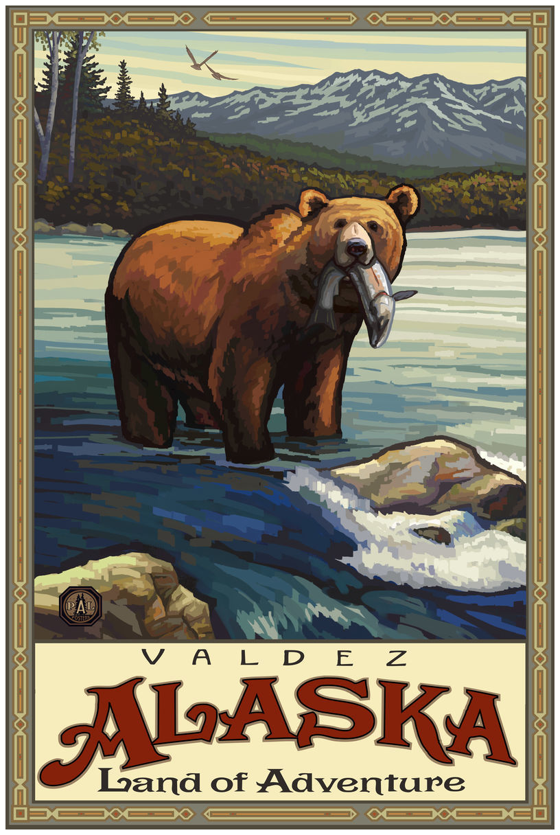 Valdez Alaska Land Of Adventure Grizzly With Fish Giclee Art Print Poster by Paul A. Lanquist