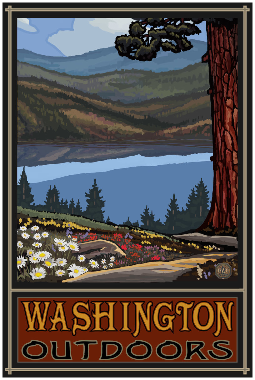 Washington Lake Trails Big Hills Giclee Art Print Poster by Paul A. Lanquist