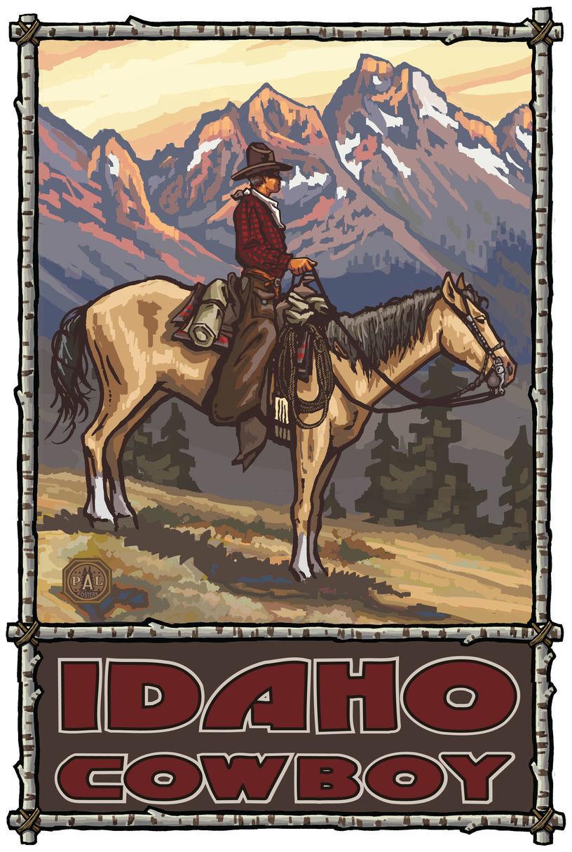 Idaho Summer Cowboy Giclee Art Print Poster by Paul A. Lanquist