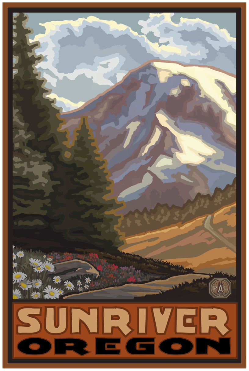 Sunriver Oregon Springtime Mountains Giclee Art Print Poster by Paul A. Lanquist
