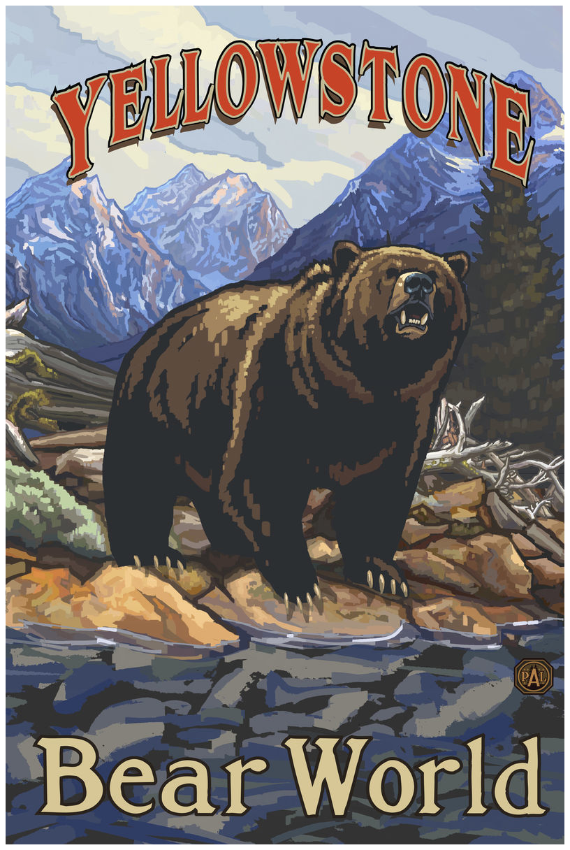 Yellowstone Bear World Grizzly On Bank Giclee Art Print Poster by Paul A. Lanquist