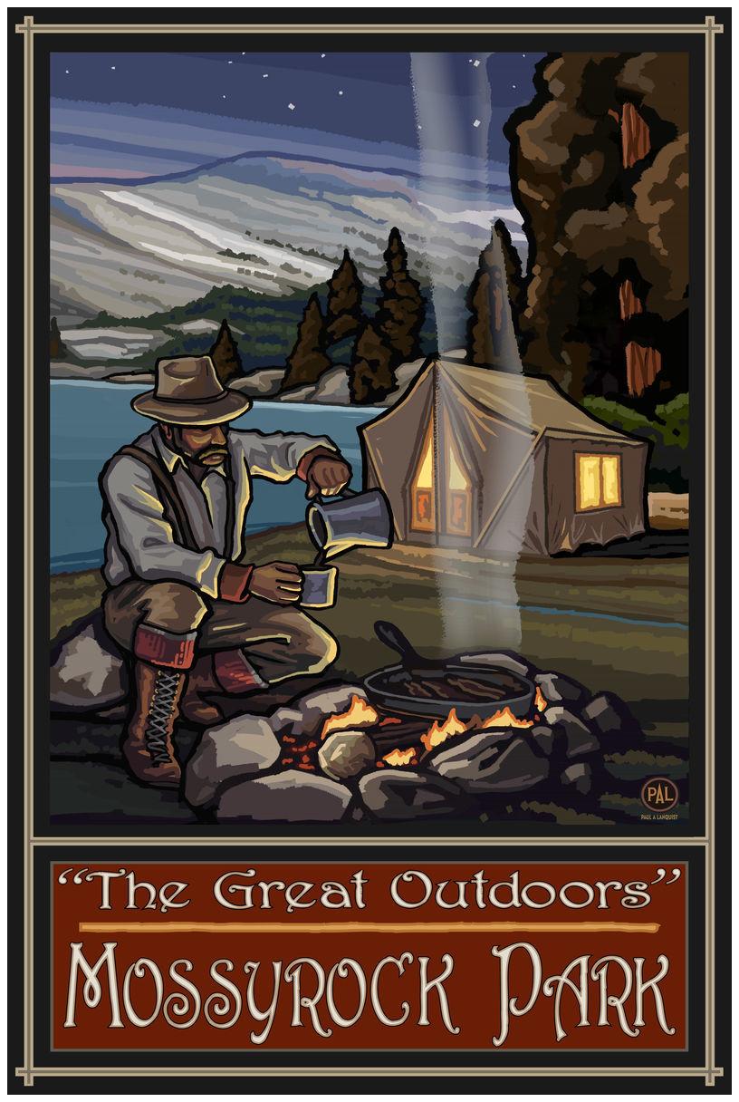 Mossyrock Park Washington Lake Tent Camper Giclee Art Print Poster by Paul A. Lanquist