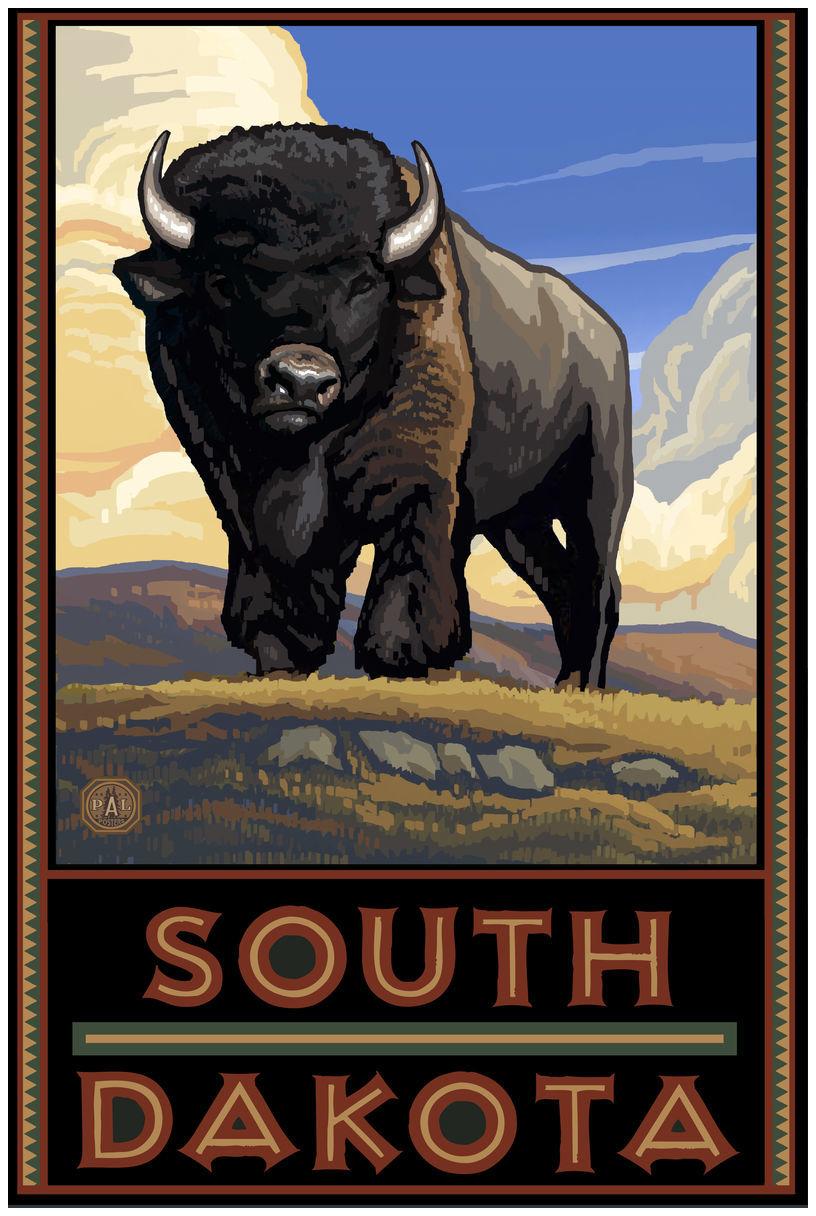 South Dakota Buffalo Plains Giclee Art Print Poster by Paul A. Lanquist