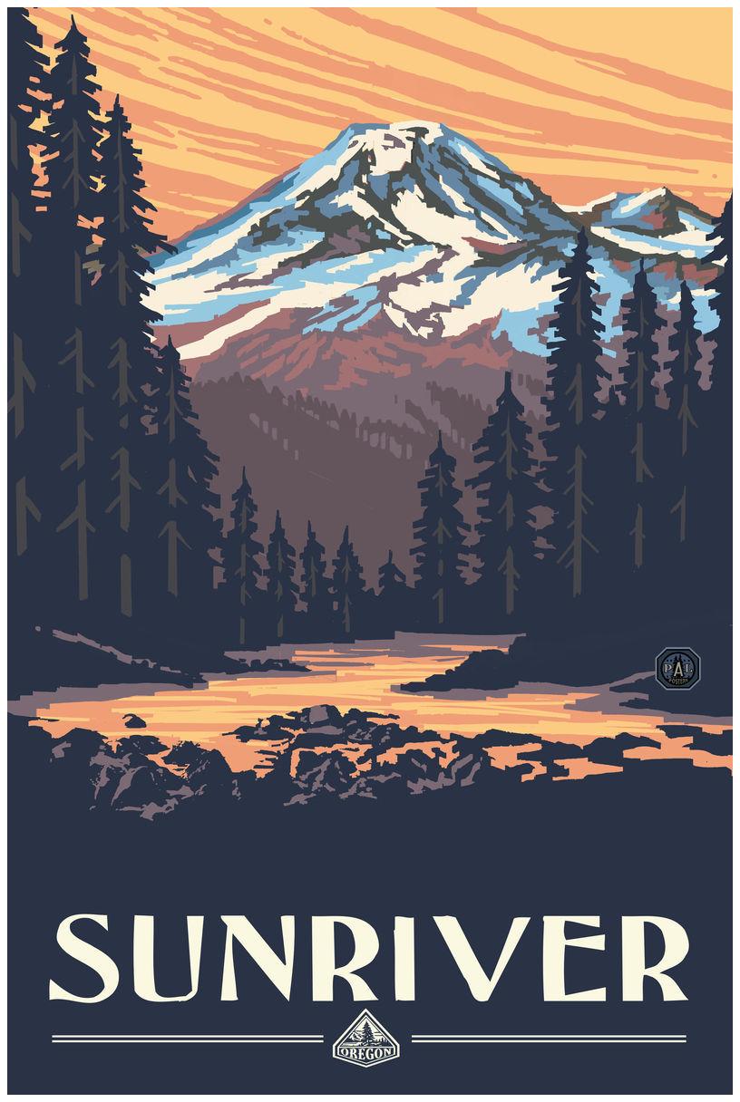 Sunriver Mountain Sunset Giclee Art Print Poster by Paul A. Lanquist