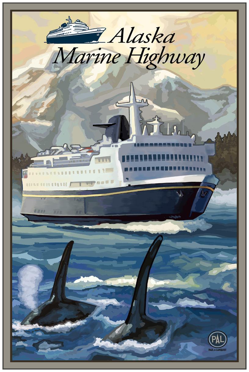 Alaska Marine Highway With Logo Giclee Art Print Poster by Paul A. Lanquist
