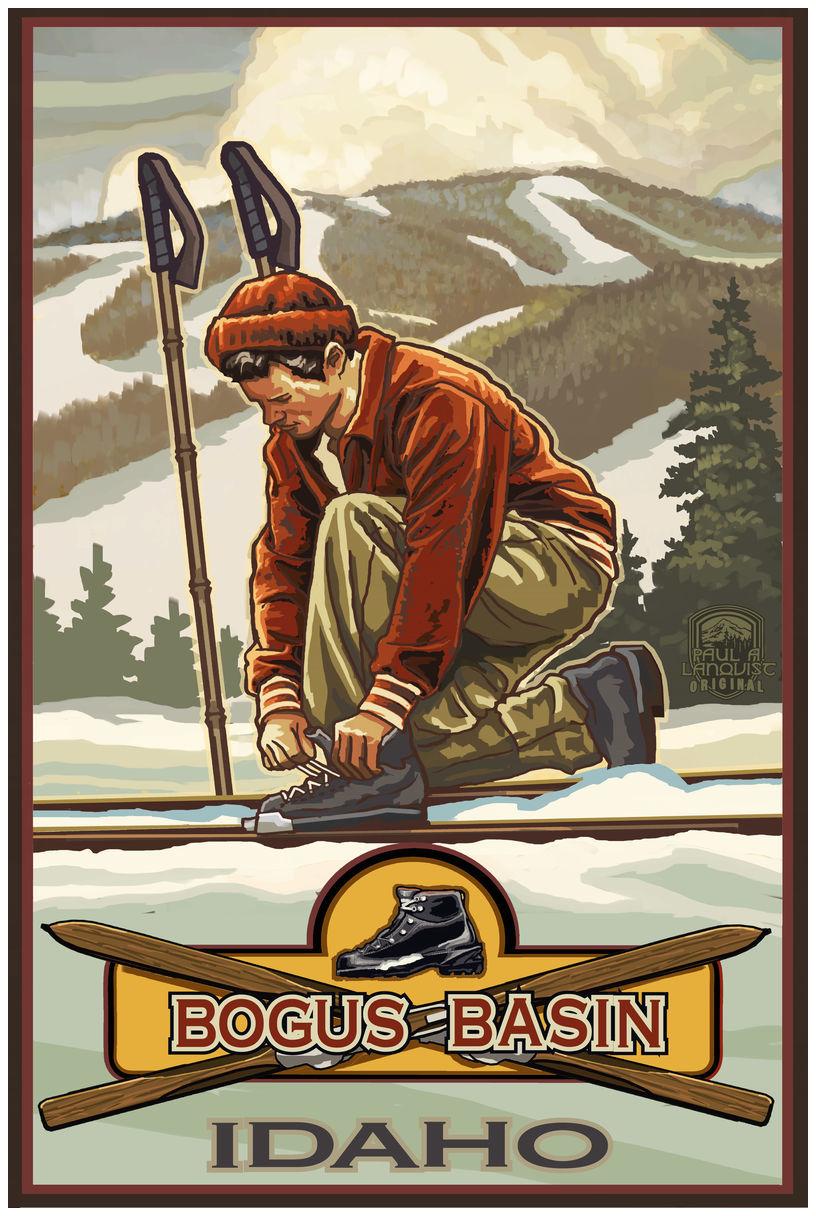 Classic Binding Skier Bogus Basin Idaho Giclee Art Print Poster by Paul A. Lanquist