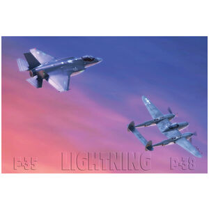 "P-38 and F-35 ""Lightning"" Planes"