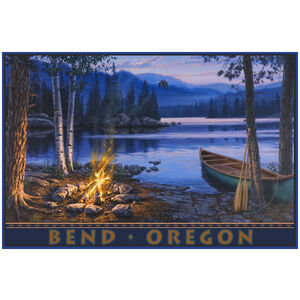 Bend Oregon Lake Canoe Fire Drawing & Painting Canoeing Giclee Art Print Poster by Darrell Bush