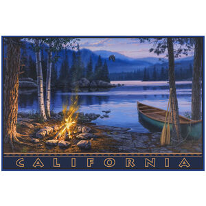 California High Sierra Lake with Canoe and Campfire Drawing & Painting Canoeing Giclee Art Print Poster by Darrell Bush