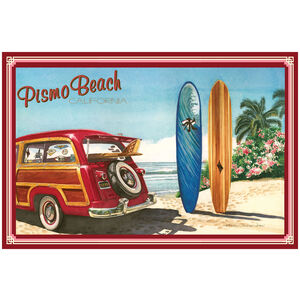 Pismo Beach California Woodie Car & Surfboards