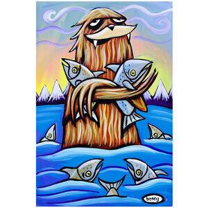 Sasquatch Hugging Salmon