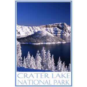 Crater Lake In Winter With Wizard Island