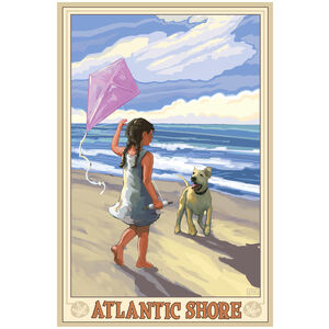 Atlantic Shore Girl Dog Beach