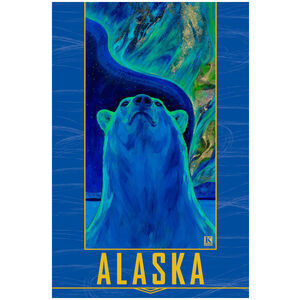 Alaska Northern Lights Polar Bear