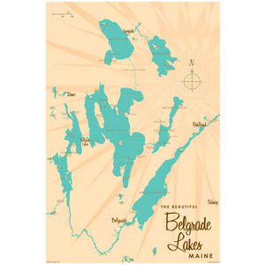 Belgrade Lakes Maine Map