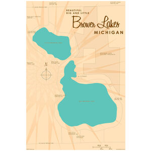 Big and Little Brower Lakes Michigan Map