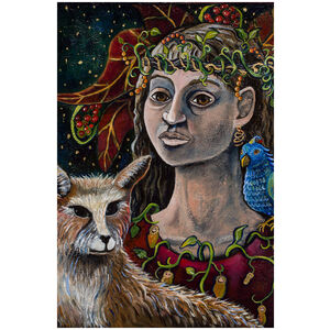Woman With Fox: Colorful Imaginary Goddess Portrait