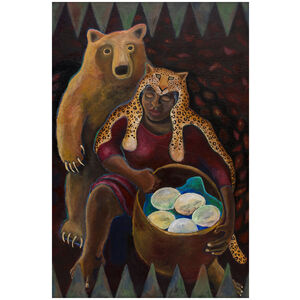 Basket of Eggs: Imaginary Portrait of Woman & Bear