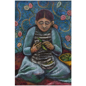 The Cook: Colorful Folk Art Portrait of Woman