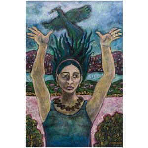 The Message: Woman with Raven in Sparkling World