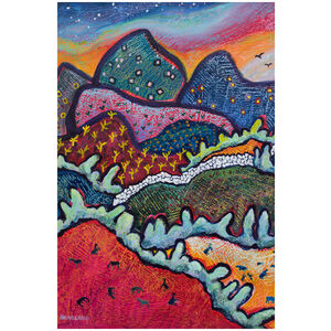 Whimsical Landscape at Sundown: Colorful Mountains at Sunset