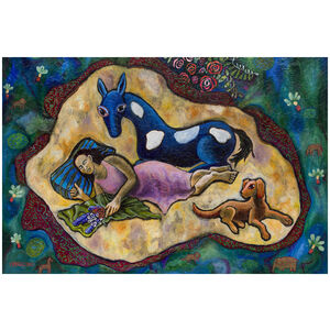 Woman with Horse Dog: Colorful Imaginary Dreamscape