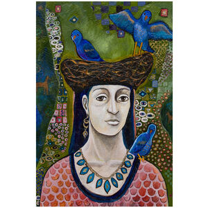 Bluebirds: Portrait of Woman & Her Nest of Birds