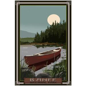 Banff National Park Canoe In Moonlight