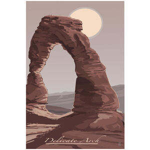 Delicate Arch With Moon Arches National Park
