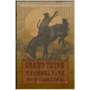Grand Teton Bucking Horse Cowboy