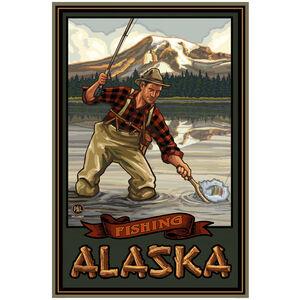 Alaska Mountain Lake Fisherman