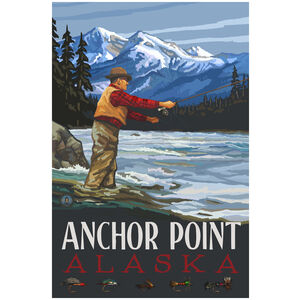 Anchor Point Alaska Fly Fisherman Stream Mountains Giclee Art Print Poster by Paul A. Lanquist