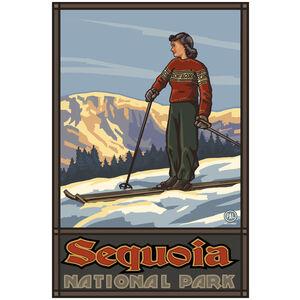 Sequoia National Park Girl Skier Standing Sunset