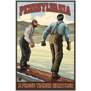 Pennsylvania Log Rollers Hills Giclee Art Print Poster by Paul A. Lanquist