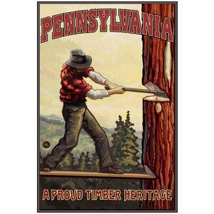 Pennsylvania Tree Chopper Giclee Art Print Poster by Paul A. Lanquist