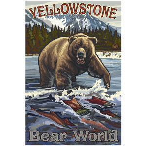 Yellowstone Bear World Grizzly With Salmon