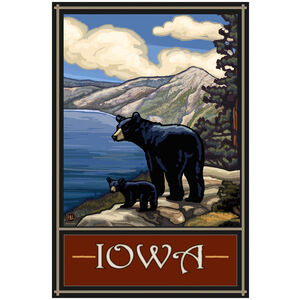 Iowa Lake Bears Giclee Art Print Poster by Paul A. Lanquist