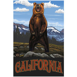 California Grizzly Bear Standing Giclee Art Print Poster by Paul A. Lanquist