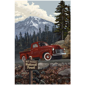 Mount Rainier National Forest Truck With Mountain