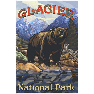 Glacier National Park Grizzly On Bank