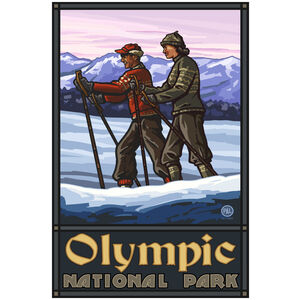 Olympic National Park Cross Country Skiers Giclee Art Print Poster by Paul A. Lanquist