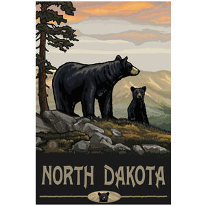 North Dakota Black Bear Family Giclee Art Print Poster by Paul A. Lanquist