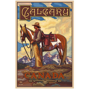 Calgary Canada Cowboy Giclee Art Print Poster by Paul A. Lanquist