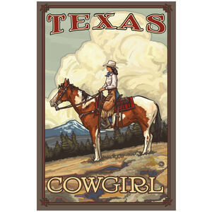 Texas Summer Cowgirl Giclee Art Print Poster by Paul A. Lanquist